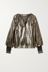 Derek Lam 10 Crosby By Helena Oversized Silk And Lurex Blend Blouse Gold