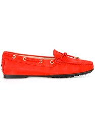 Tod's Classic Boat Shoes Women Calf Leather Leather Rubber 38 Red