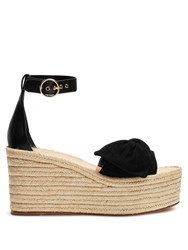 Valentino Tropical Suede Wedge Sandals Black