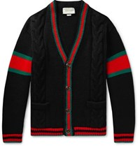 Gucci Stripe Trimmed Cable Knit Wool Cardigan Black