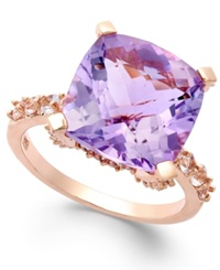 Victoria Townsend Amethyst 6 3 4 Ct. T.W. And White Topaz 5 8 Ct. T.W. Cocktail Ring In 18K Rose Gold Over Sterling Silver