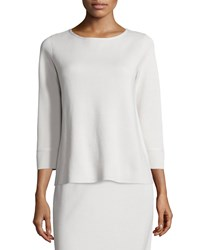 Eileen Fisher 3 4 Sleeve Silk Cotton Interlock Box Top Women's Bone