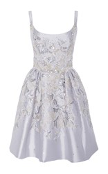 Marchesa Scoop Neck Floral Embroidered Tank Dress Silver