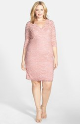 Plus Size Women's Marina Embellished Three Quarter Sleeve Lace Dress Rose