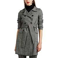 Barneys New York Herringbone Trench Coat Wht.Andblk. Wht.Andblk.