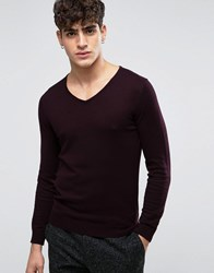 Casual Friday V Neck Jumper In Wool Mix Burgundy Red