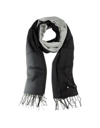 Mila Schon Gradient Black Gray Wool And Cashmere Stole