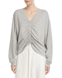 Robert Rodriguez V Neck Ruched Front Cotton Tee Gray