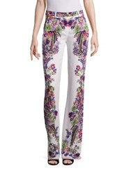 Roberto Cavalli Cady Printed Flared Pants White Base Belle Heather