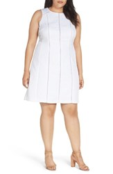 London Times Plus Size Women's Geo Jacquard Fit And Flare Dress