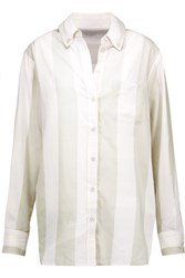 Equipment Margaux Striped Cotton Voile Shirt Off White