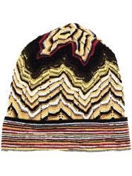Missoni Knitted Beanie Hat Yellow And Orange