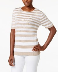 Alfred Dunner Striped Beaded Sweater Almond
