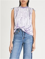 Moandco. High Neck Crushed Velvet Top Aster Purple