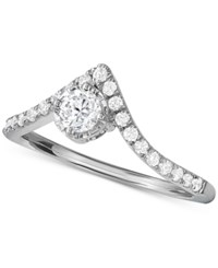 Macy's Diamond V Shape Engagement Ring 1 2 Ct. T.W. In 14K White Gold