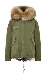 Mr And Mrs Italy Army Patch Fox Fur Lined Mini Parka Multi