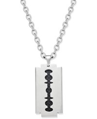 Sutton By Rhona Sutton Men's Two Tone Stainless Steel Blade Pendant Necklace Silver