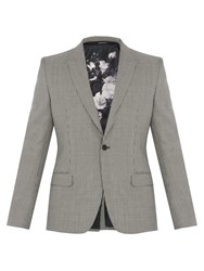 Alexander Mcqueen Hound's Tooth Peak Lapel Wool Blend Blazer Grey Multi