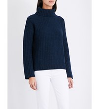 The White Company Chunky Wide Sleeve Knitted Jumper Navy Marl