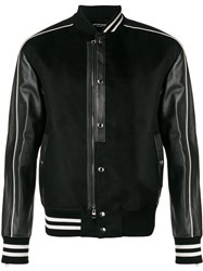 Alexander Mcqueen Striped Trim Bomber Jacket Black