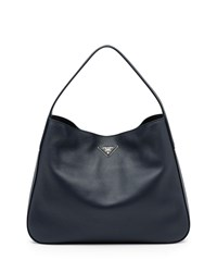 Prada Vitello Daino Medium Wide Strap Hobo Bag Navy Baltico Size M