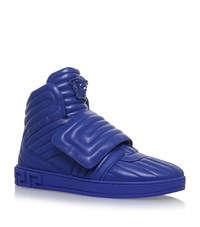 Versace Medusa Quilted Padded Hi Tops Male Blue