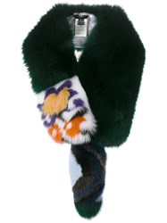 Fendi Fur Patterned Stole Green