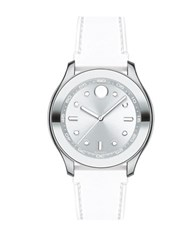 Movado Bold Stainless Steel And Silicone Strap Watch White