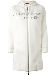 Moncler Chain Embroidered Hooded Coat White