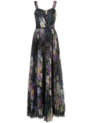 Marchesa Notte Floral Print Sleeveless Pleated Gown 60