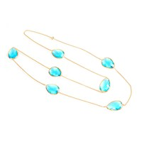 Latelita London Long Chain Necklace Gold Blue Topaz Hydro Blue Gold