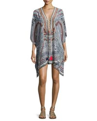 Camilla Short Lace Up Caftan Coverup Antique Batik Multi