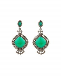 Bavna Green Onyx And Champagne Diamond Drop Earrings