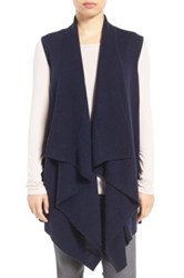 Halogen Wool And Cashmere Drape Front Sweater Vest Blue