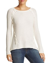 Design History Shark Bite Lace Up Ribbed Sweater Pearl