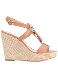 Michael Michael Kors 'Darien' Tassel Embellished Wedges Brown