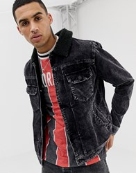 Your Turn Yourturn Cord Jacket In Washed Black With Borg Collar