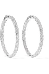 Kenneth Jay Lane Rhodium Plated Crystal Hoop Earrings Silver