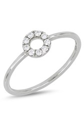Bony Levy 18K White Gold Diamond Open Circle Ring 0.11 Ctw