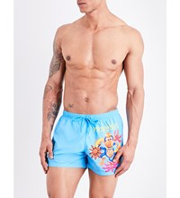 Moschino Monkey Print Swim Shorts Turquoise