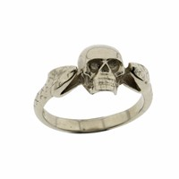 Metal Couture Viper And Skull Ring Silver