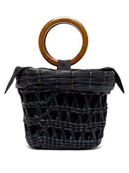 Sensi Studio Bamboo Handle Straw Basket Tote Bag Black Multi