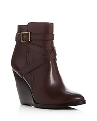 Frye Cece Jodhpur Wedge Booties Dark Brown