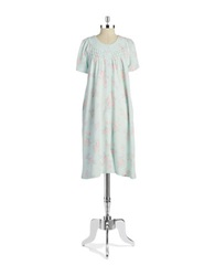 Miss Elaine Floral Waffle Knit Nightgown Pink On Green