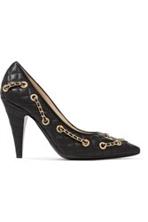Moschino Embellished Quilted Leather Pumps Black