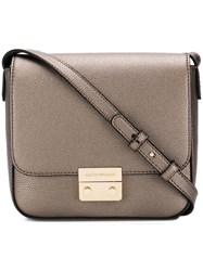 Emporio Armani Push Lock Cross Body Bag Metallic