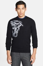 Versace Medusa Logo Virgin Wool Crewneck Sweater Black