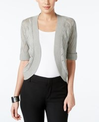 Ny Collection Pointelle Short Sleeve Bolero Cardigan Silver Lurex