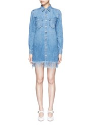 3X1 'Wd' Fringe Hem Denim Shirt Dress Blue