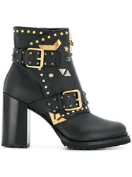 Fabi Embellished Ankle Boots Calf Leather Leather Rubber Black
